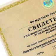 Свидетельство о регистрации организации