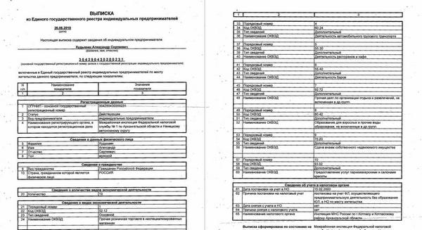 Пример официальной выписки на бумаге
