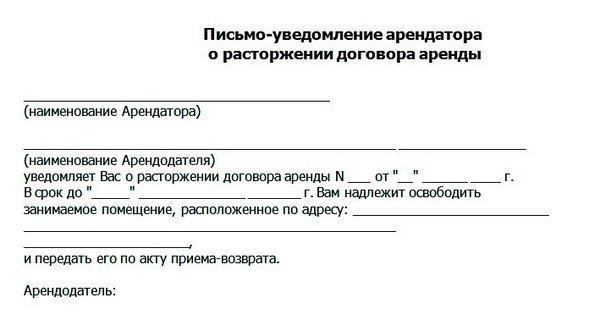 образец письма о расторжении договора аренды недвижимого имущества отправляюсь Шалмирану
