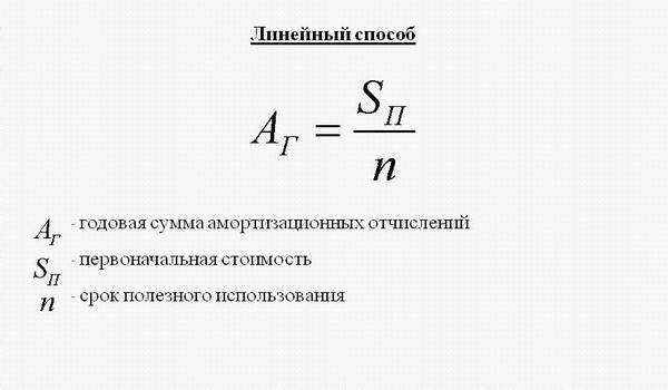 Линейный метод начисления амортизации
