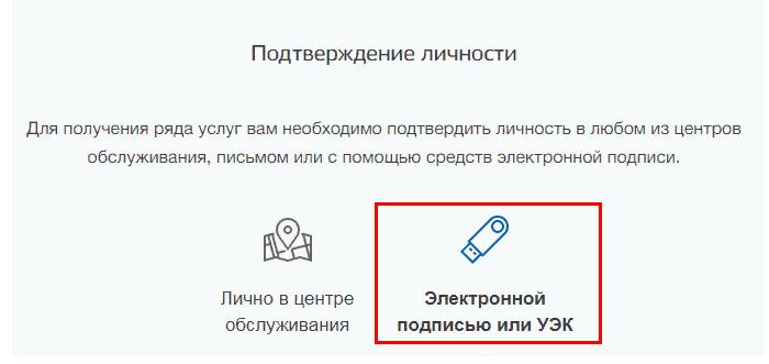 подтверждение личности - электронной подписью или УЭК