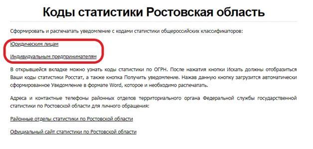 Коды статистики Ростовской области