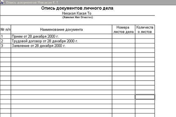 Опись передаваемых документов образец заполнения