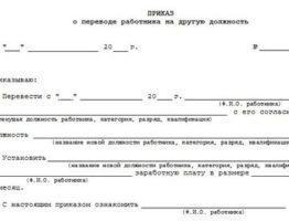 Пример приказа о переводе