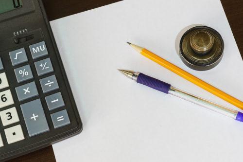 Лист, калькулятор, карандаш