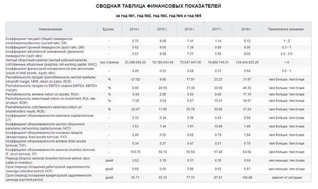 Сводная таблица финансовых показателей