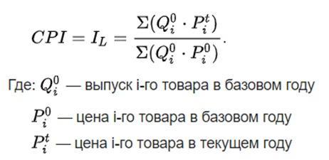 Формула индекс потребительских цен
