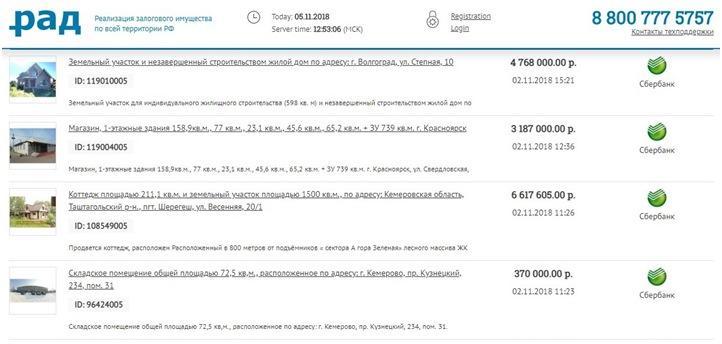 Продажа залоговых активов Сбербанка на площадке «Российский аукционный дом»