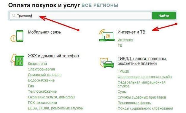 Раздел Интернет и ТВ на сайте Сбербанка