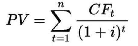 Формула расчета дисконтирования при облигациях