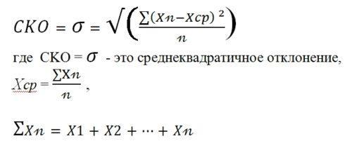 Формула расчета среднеквадратичного отклонения