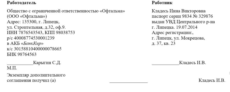 Пример дополнительного соглашения. Подписи сторон