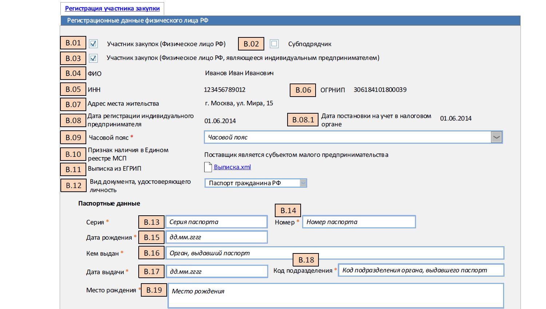 Регистрация участника закупки