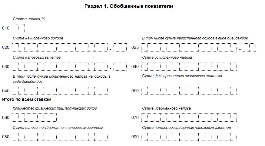 Раздел 1 формы 6 НДФЛ