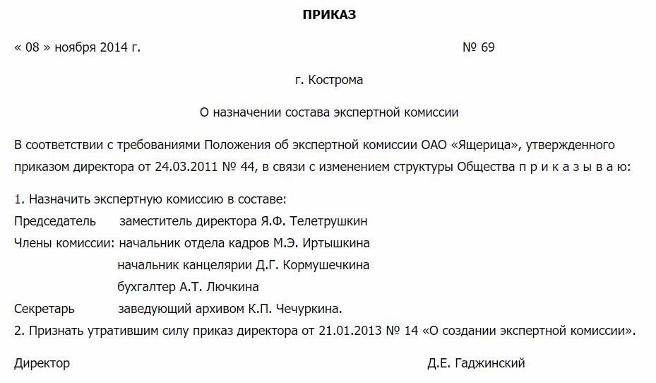Приказ о назначении состава экспертной комиссии