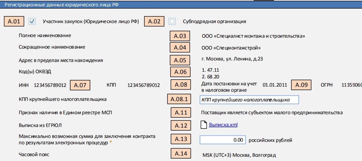 Регистрационная информациия россияне